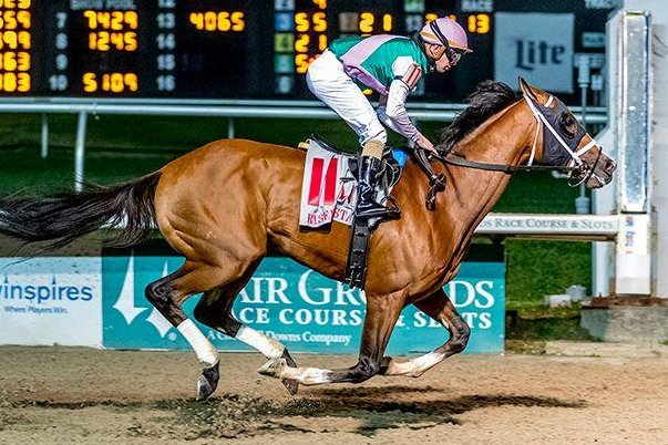 Mandaloun jumps to the top of the Kentucky Derby rankings with a win in Saturday's Risen Star Stakes at Fair Grounds. Photo courtesy of Fair Grounds