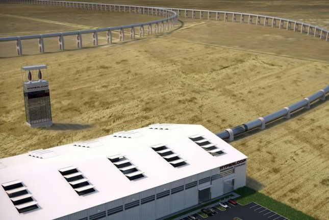 A rendering of the hypothetical Hyperloop test track at Quay Valley. Photo by Hyperloop Transportation Technologies
