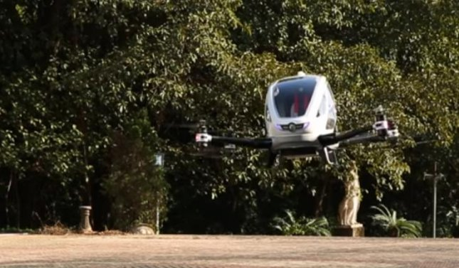 Residents of Dubai may be able to order an airborne taxi by the middle of 2017 as the Roads and Transportation Agency there plan to launch a single-person automated drone service in the city. Photo by EHang/YouTube.com