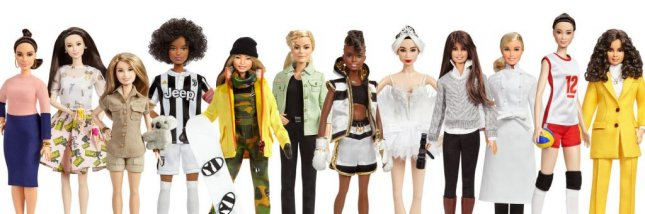 Barbie is honoring, from left, Vicky Martin Berrocal, Xiaotong Guan, Bindi Irwin, Sara Gama, Chloe Kim, Martyna Wojciechowska, Nicola Adams OBE, Yuan Yuan Tan, Patty Jenkins, Hélène Darroze, Hui Ruoqi, and Leyla Piedayesh with dolls in their likenesses for International Women's Day. Photo courtesy Mattel