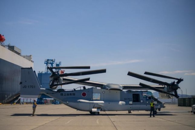 The first two V-22 Osprey tiltrotor aircraft of the Japan Ground Self-Defense Force arrived on May 8, 2020, at U.S. Marine Corps Station Iwakuni, Japan. Photo courtesy of U.S. Marine Corps