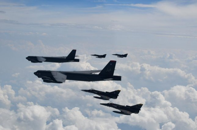 Two U.S. Air Force B-52H Stratofortress and Colombian Air Force Kfirs fighter aircraft participate in the Brother's Shield exercise earlier this month. Photo courtesy of the Colombian air force