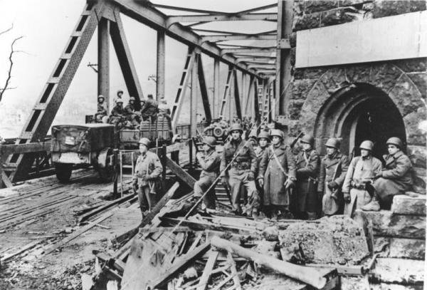 The Ludendorff Bridge (Bridge at Remagen) following its capture by Allied forces. Picture taken between March 8-11, 1945. Photo courtesy the German Federal Archive