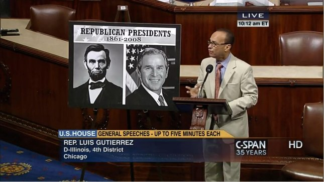 Rep. Luis Gutiérrez, D-Ill., on the House floor Tuesday, urging Republicans to help pass immigration reform. (C-SPAN)