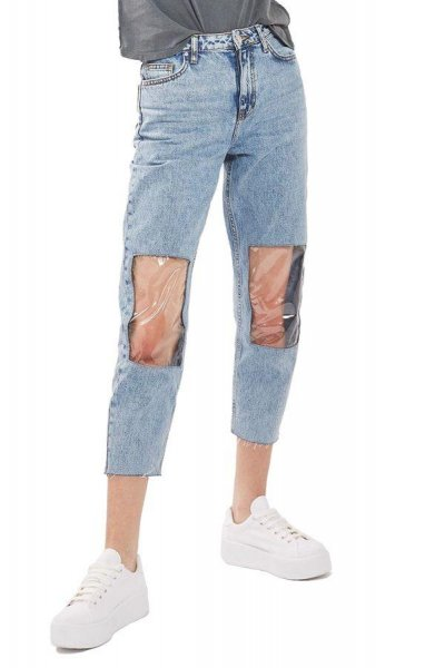 Clear Knee Mom Jeans, listed for $95, feature plastic windows on the knees. Photo by Nordstrom.com