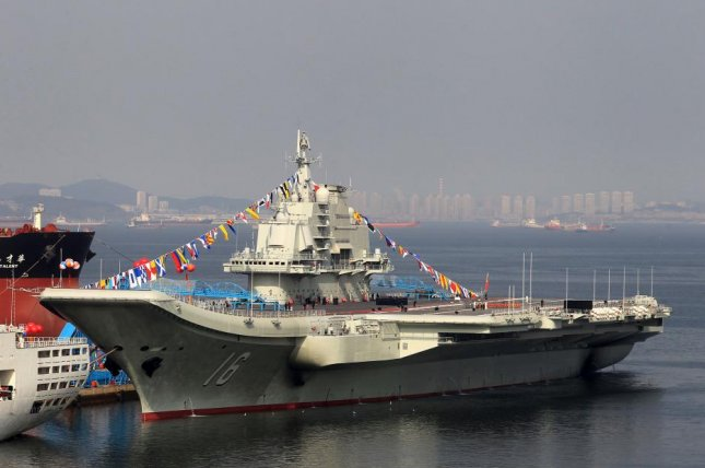 The Chinese navy deployed the aircraft carrier Liaoning during a training exercise near the Korean peninsula, according to state media. File Photo by John Lee/EPA