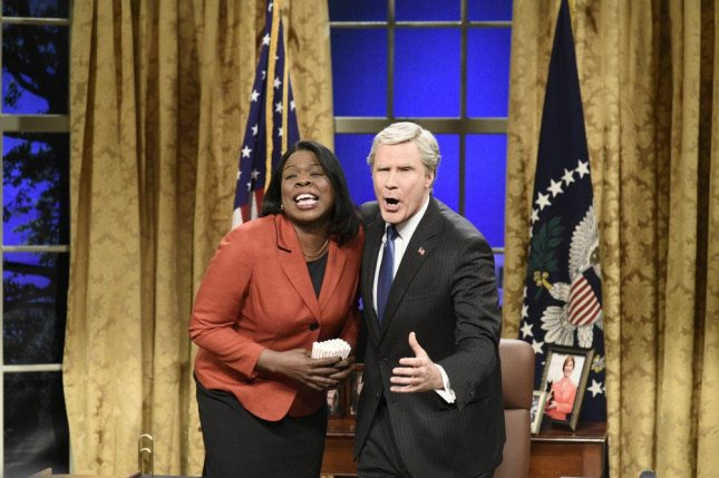 Leslie Jones as Condoleezza Rice and Will Ferrell as George W. Bush in a scene from this weekend's edition of Saturday Night Live. Photo by Will Heath/NBC