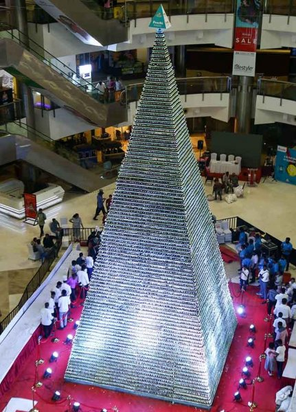 The world's largest tower of cupcakes, assembled at a mall in Chennai, India, measured 41 feet, 8 inches tall. Photo courtesy of Guinness World Records