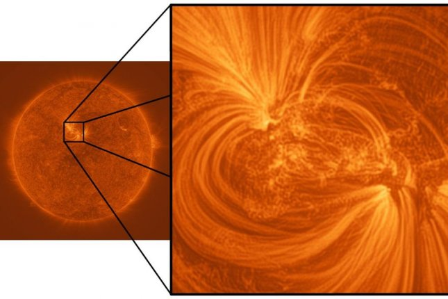Images captured by NASA's Hi-C space telescope revealed the presence of super heated plasma threads snaking through the sun's outer atmosphere. Photo by University of Central Lancashire