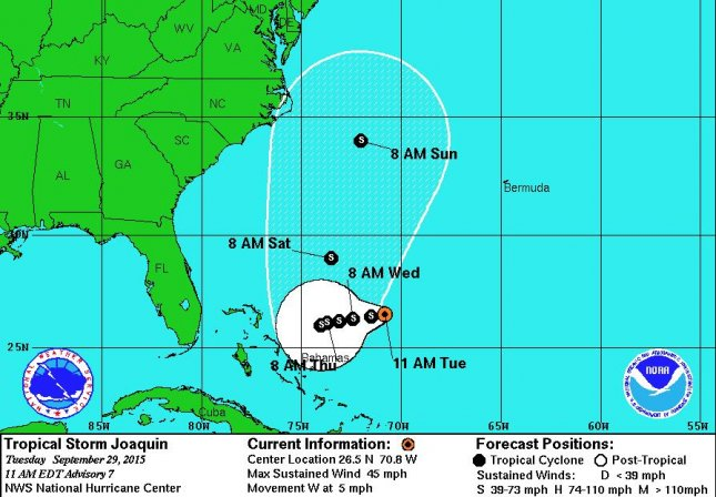 Tropical Storm Joaquin could pose problems for the mid-Atlantic states Sunday and into early next week. NOAA/NHC