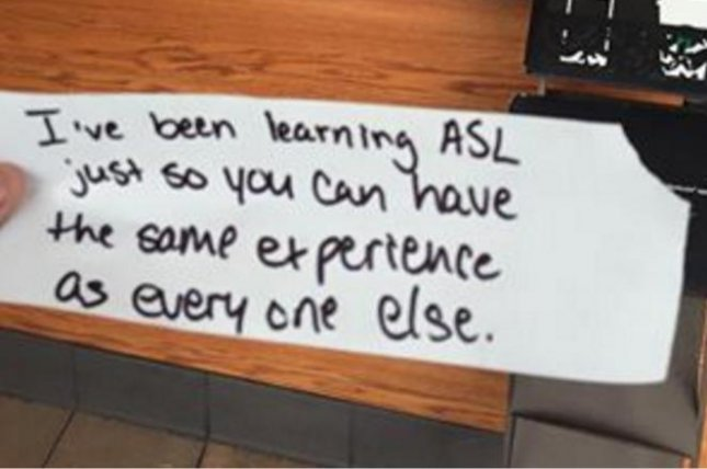A Starbucks worker in Leesburg, Va., handed this note to a deaf customer. Photo by Ibby Piracha/Facebook