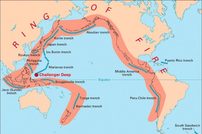 Despite their position on the Ring of Fire, the Mariana and Izu-Bonin arc systems are not prone to large earthquakes. But scientists identified two earthquake swarms within the arc systems, which are located along the boundary of two tectonic plates, the Philippine Sea Plate and the Pacific Plate. Photo by USGS