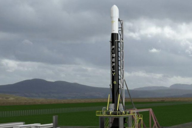 A digital sketch shows what a Firefly Alpha rocket might look like on the launch pad. Image courtesy of Firefly Aerospace