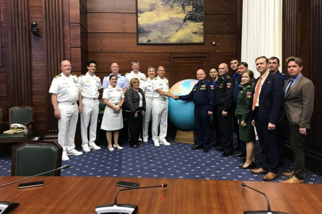 Leaders of the U.S. and Russian Navies met Tuesday to discuss intercepts between the two countries at air and sea. Photo via U.S. Navy/Twitter