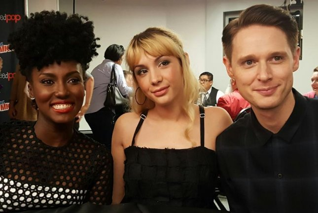 Jade Eshete, Hannah Marks and Samuel Barnett (L-R) talk about their new BBC America series Dirk Gently's Holistic Detective Agency at New York Comic Con on Oct. 7, 2016. Photo by Karen Butler/UPI