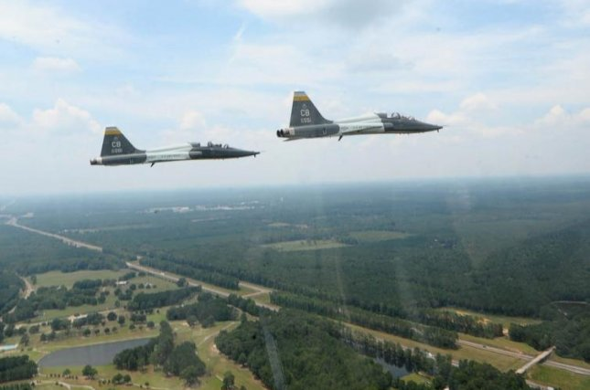 A group of USAF T-38 Talons fly over Mississippi. Officials said a T-38 crashed in Texas on Monday, killing one pilot. File Photo by U.S. Air Force photo/Airman 1st Class Daniel Lile/UPI