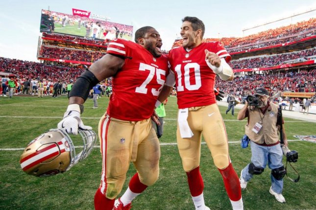 The San Francisco 49ers signed offensive guard Laken Tomlinson (75) to a three-year contract extension through the 2021 season, the team announced on Friday. Photo courtesy of San Francisco 49ers/Twitter