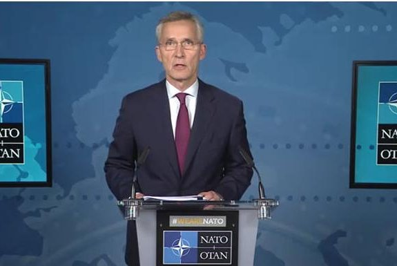 After a videoconference of NATO officials, NATO Secretary-General Jens Stoltenbers called for strengthening defenses against Russia on Wednesday, but said no new nuclear weapons would be placed in Europe. Photo courtesy of NATO