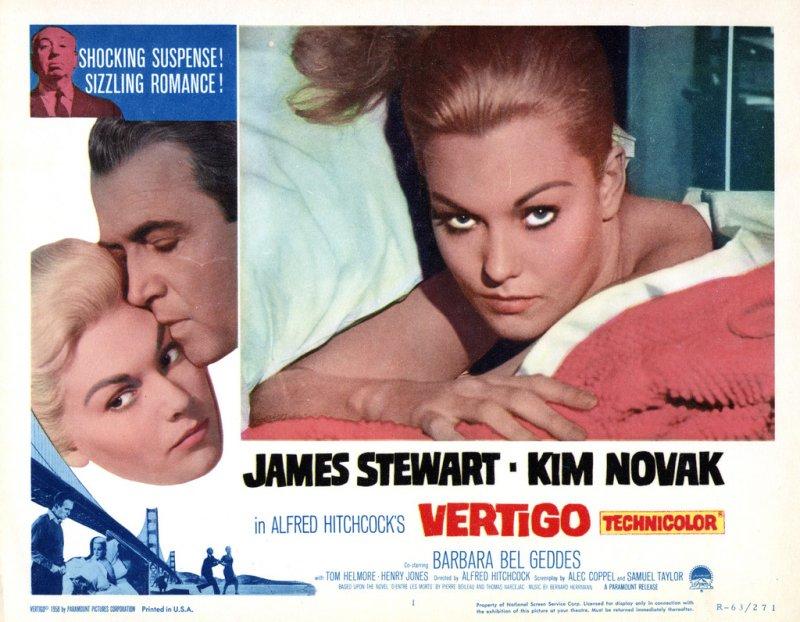 Promotional card for the 1958 film Vertigo starring Jimmy Stewart and Kim Novak. From TCM Archives.