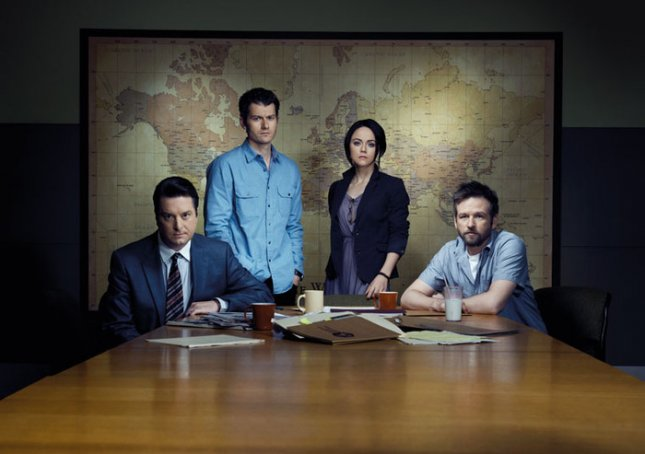 Image of Christopher Evan Welch, James Badge Dale, Lauren Hodges) and Dallas Roberts in Rubicon, courtesy of AMC.