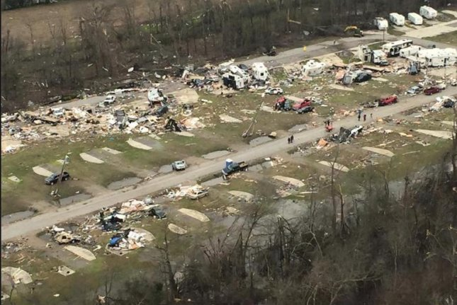 At least two people were killed in a mobile home park in Convent, La., about 50 miles west of New Orleans, when a tornado ripped through the area. The strong storm system is to blame for at least five other deaths along the East Coast, most in Virginia. Photo courtesy of Louisiana Governor's Office of Homeland Security and Emergency Preparedness
