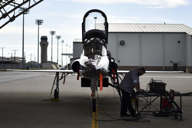 Wesley Dietrich, 9th Maintenance Operation Squadron aircraft mechanic, runs an air speed test on a T-38 Talon at Beale Air Force Base, Calif. Monday. This week Israel Aerospace Industries received a $240 million contract to replace wings for the aircraft. Photo byValentina Viglianco/U.S. Air Force