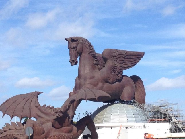 The Pegasus statue at Gulfstream Park in Hallandale Beach, Fla. Photo by Robert Kieckhefer/UPI