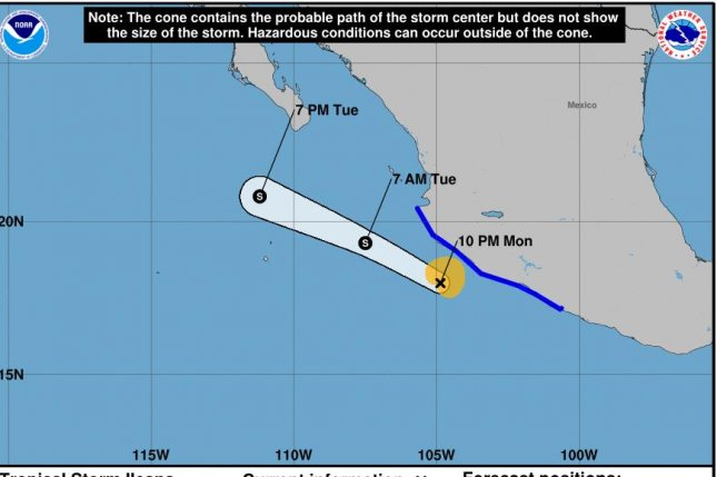 Tropical Storm Ileana weakened slightly Monday and was expected to dissipate by late Tuesday, but could bring tropical storm conditions to Mexico's coast before then. Image courtesy of the National Hurricane Center