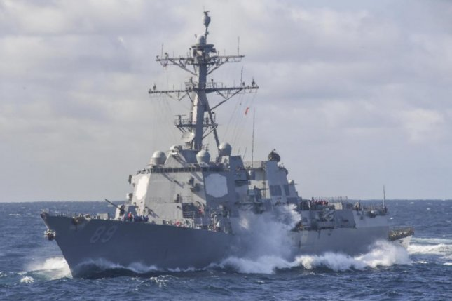 North Korea says the United States deployed the USS Mustin, an Arleigh Burke-class guided missile destroyer, into its maritime economic zone. File Photo courtesy by Mass Communication Specialist 3rd Class Kelsey L. Adams/U.S. Navy