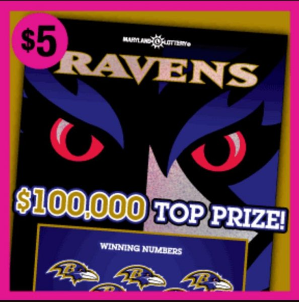A New England Patriots fan in Maryland said her opinion of the Baltimore Ravens has changed after winning a $100,000 jackpot from a Ravens-themed lottery ticket. Photo courtesy of the Maryland Lottery