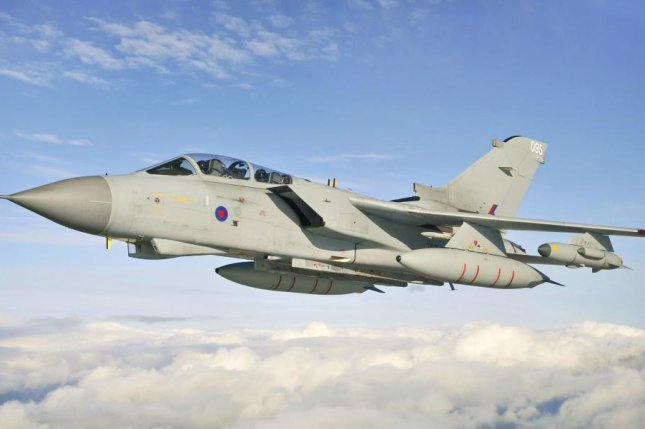 The U.K.'s Tornado fighter aircraft, pictured during training in 2012, is capable of being outfitted with AMRAAMs. Photo by Corporal Mike Jones/U.K. Ministry of Defense