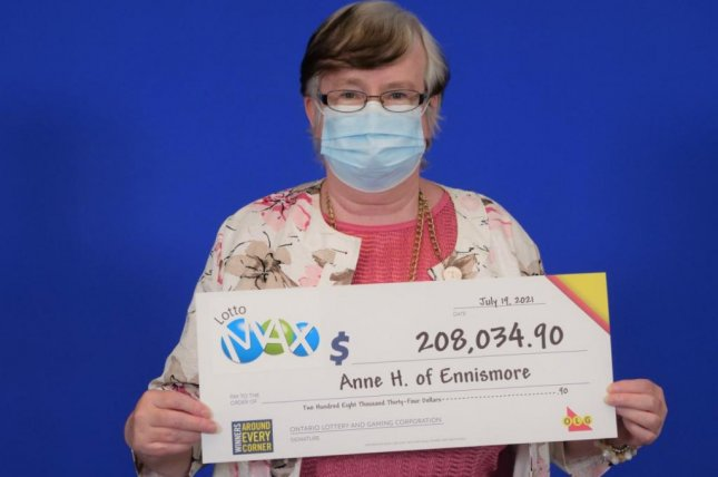 Anne Hickey, of Ontario, Canada, said using the same set of lottery numbers for five years paid off when she scored a$165,632.19 jackpot. Photo courtesy of the Ontario Lottery and Gaming Corp.