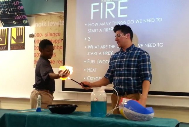 A Minneapolis teacher lights a student's hand on fire. For science. Screenshot: Storyful