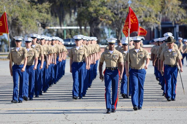 U.S. Marines graduate recruit training aboard Marine Corps Recruit Depot Parris Island, S.C., on March 26. Photo by Samuel Fletcher/U.S. Marine Corps
