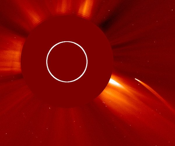 A sun grazing comet as caught by SOHO's LASCO C2 camera as it dived toward the sun on July 5 and July 6, 2011. SOHO is the overwhelming leader in spotting sungrazers, with over 2000 spotted to date, aided by the fact that the sun's bright light is itself blocked out by a coronograph. Credit: SOHO (ESA & NASA)
