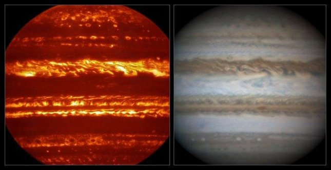 This view compares a lucky imaging view of Jupiter from VISIR, on the left, at infrared wavelengths with a very sharp amateur image in visible light from about the same time on the right. Photo by Leigh Fletcher/Damian Peach/European Southern Observatory