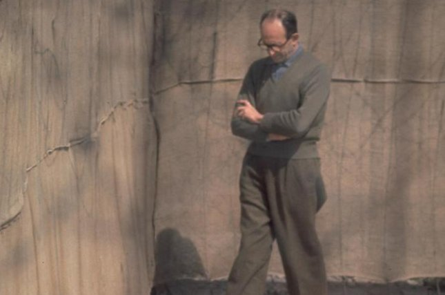 Nazi war criminal Adolf Eichmann walks in the yard of his cell in Ramla prison on April 21, 1961. Photo courtesy Israeli Government Press Office