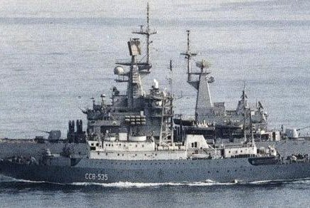 The Soviet Meridian-class intelligence collection ship Kareliya (SSV-535) steams alongside the U.S. Navy guided missile cruiser USS Texas (CGN-39). The ship is similar to the intelligence gathering ship the Viktor Leonov that was spotted 70 miles off the East Coast of the United States on Tusday. Photo courtesy of U.S. Navy/Wikimedia Commons.