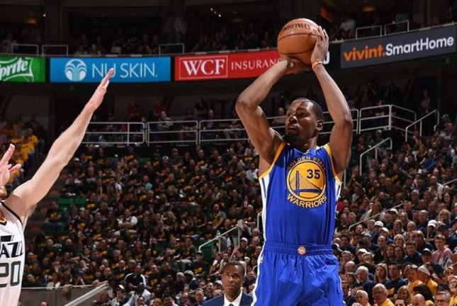 Kevin Durant took the game over, scoring 38 to lead Golden State to a 3-0 series lead over Utah on Saturday night. Photo courtesy Golden State Warriors via Twitter
