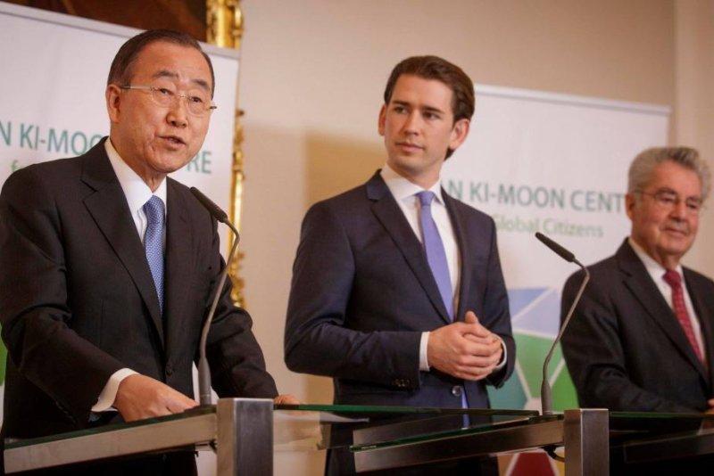 Former U.N. Secretary-General Ban Ki-moon (L), Austrian Chancellor Sebastian Kurz (C) and former Austrian President Heinz Fischer (R) launched the Ban Ki-Moon Center for Global Citizens Wednesday. Photo courtesy of Ban Ki-moon Centre for Global Citizens
