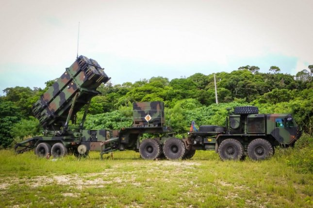 A patriot missile launcher system part of 1st Battalion, 1st Air Defense Artillery Regiment, sits in a training area during the unit's table gunnery training exercise on Kadena Air Base in Japan, Oct. 19, 2017. Photo by Capt. Adan Cazarez/U.S. Army