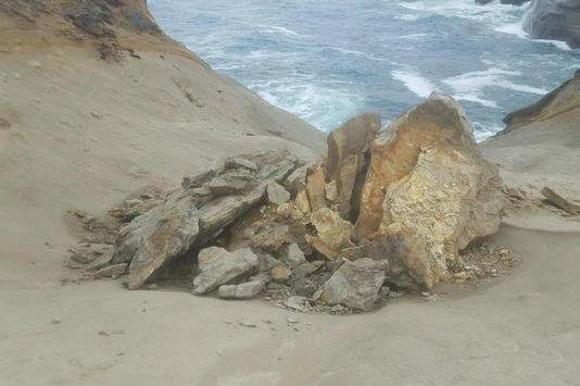 A famed Oregon sandstone formation called The Duckbill was pushed off a cliff by a group of visitors to Cape Kiwanda State Natural Area, who could face fines and criminal charges. Photo by Oregon State Parks/Facebook
