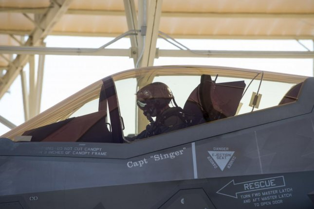 U.S. Air Force Capt. Roland Neal, 62nd Fighter Squadron fighter pilot student, prepares to taxi onto the runway for his first flight in the F-35A Lightning II Oct. 1. Photo by Brooke Moeder/U.S. Air Force