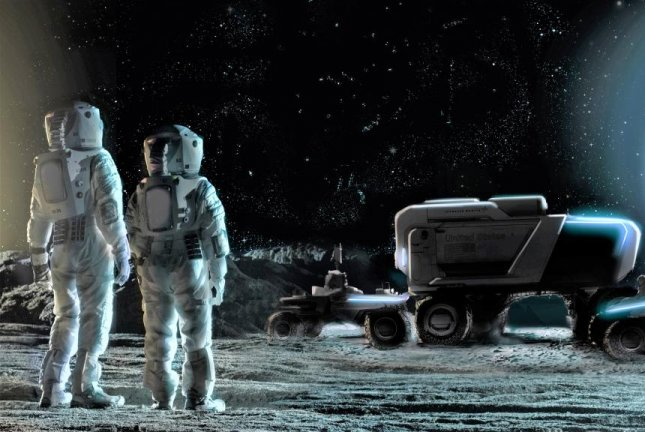 An illustration depicts two NASA astronauts viewing lunar rovers envisioned by Lockheed Martin and General Motors on the moon. Image courtesy of Lockheed Martin