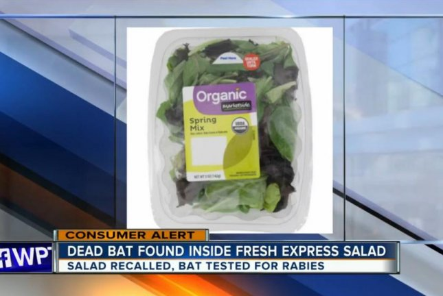 Fresh Express issued a recall for some Organic Marketside Spring Mix salads after two customers in Florida discovered a dead bat inside their salad. Screenshot: WPTV