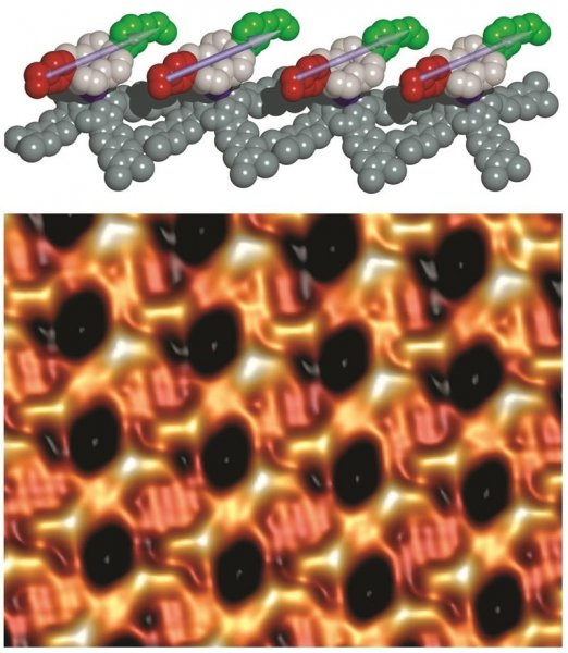 The top illustration shows several motors with the two dipolar decks situated on either side of a single europium atom. A bottom image taken by a scanning tunneling microscope reveals a parallel arrangement of dipolar motors. Photo by Saw-Wai Hla/Ohio University