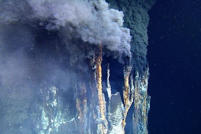 Hydrothermal vents, known as black smokers, are relatively common at the Alarcon Rise hydrothermal vent field. Photo courtesy of MBARI
