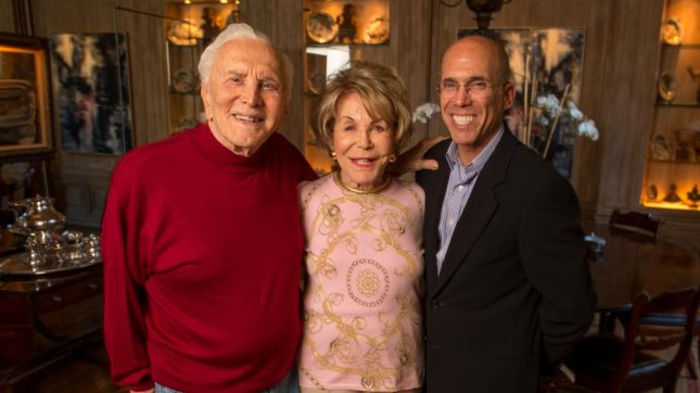 Kirk Douglas with his wife Ann and producer Jeffrey Katzenberg.