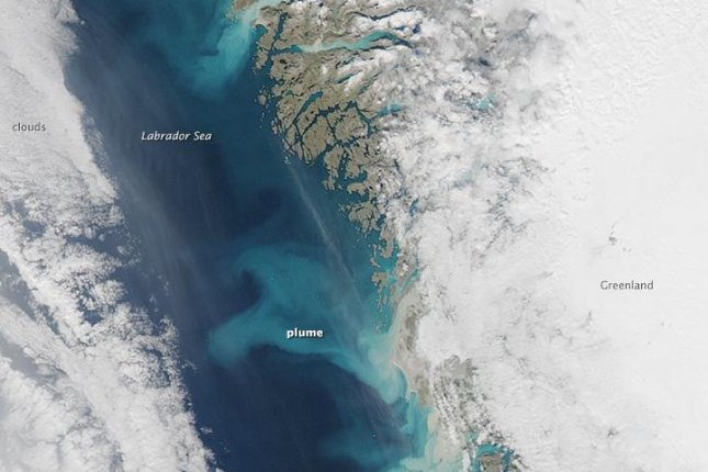 NASA EO satellite shows sediment plumes deposited from the glaciers of Greenland. (NASA Earth Observatory/Jesse Allen)