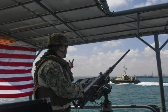 U.S. patrol boat running a escort mission off the coast of Djibouti. Photo by Senior Airman Haley Phillips/Combined Joint Task Force -- Horn of Africa Combat Camera/Department of Defense